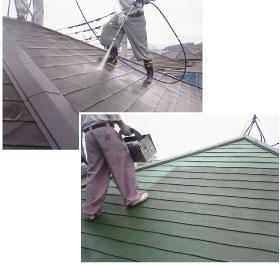 屋根の高圧洗浄、シーラー、TOP(シリコン系の塗装)